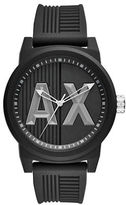 Armani Exchange ATLC Analog Black Dial Silicone-Strap Watch