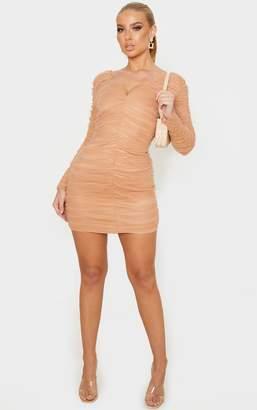 PrettyLittleThing Camel Ruched Chiffon Plunge Bodycon Dress