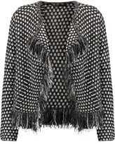 Maje Metallic fringed woven cardigan