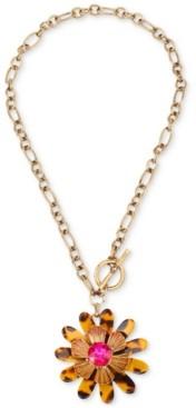 "Betsey Johnson Gold-Tone Crystal & Tortoise-Look Flower 18"" Pendant Necklace"