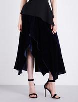 Roland Mouret Haxby asymmetric velvet skirt