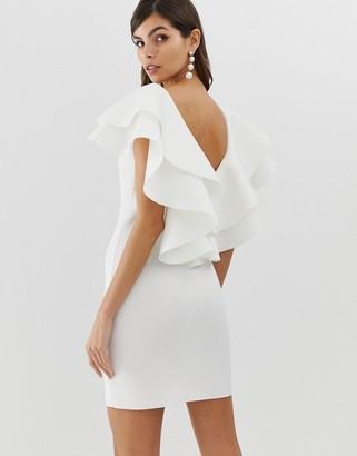 Asos Design DESIGN open back mini dress with double ruffle