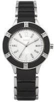 Oasis Ladies Quartz Watch with White Dial Analogue Display and Black Stainless Steel Bracelet B1088