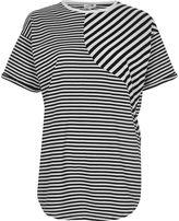 River Island Womens Black mixed stripe print boyfriend T-shirt