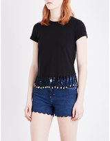 Maje Tilia fringe detail cotton-jersey T-shirt