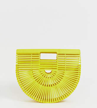 South Beach Exclusive yellow painted bamboo slatted clutch bag
