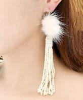 Amrita Singh Women's Earrings Ivory - Cream Fox Fur Ball Beaded Tassel Earrings