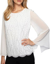 Alex Evenings Plus Long Illusion Sleeve Blouse