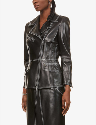 Alexander McQueen Contrast-stitch leather biker jacket