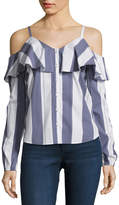 BELLE + SKY Cold Shoulder Button Down Shirt