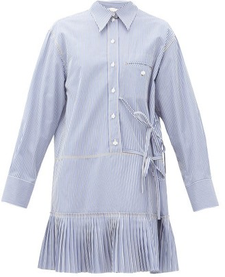 Chloé Pleated-hem Pinstripe Cotton-poplin Shirtdress - Womens - Blue White