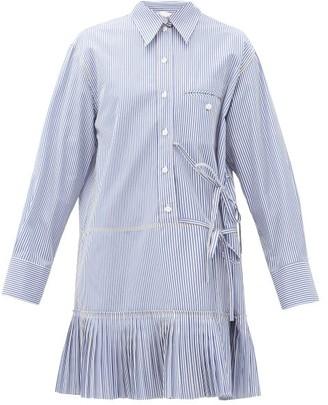 Chloé Pleated-hem Pinstripe Cotton-poplin Shirt Dress - Womens - Blue White