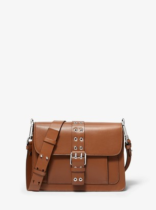 Michael Kors Simone Leather Belted Shoulder Bag
