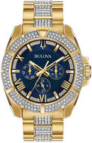 Bulova Men's Crystal Dress Gold-Tone Stainless Steel & Crystal-Accent Bracelet Watch 44mm