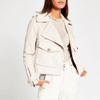 River Island Cream suedette pocket front cropped jacket