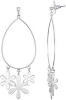 Lauren Conrad Silver Tone Floral Teardrop Nickel Free Drop Earrings