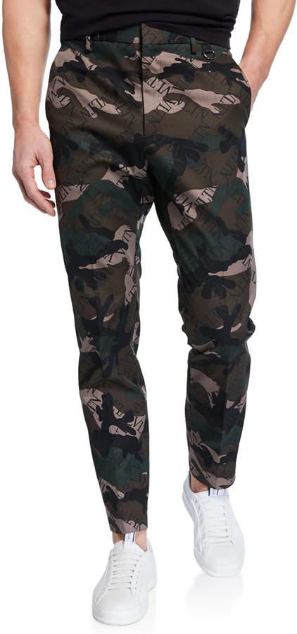 Valentino Men's Logo-Print Camo Tapered Trousers