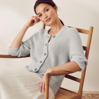 The White Company Three-Quarter-Sleeve Cardigan with Alpaca, Soft Blue, 6