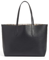 Burberry Medium Lavenby Reversible Calfskin Leather Tote - Black