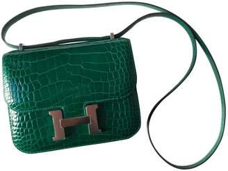 Hermes Constance Green Crocodile Handbags