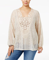 Eyeshadow Trendy Plus Size Crocheted Lace Top