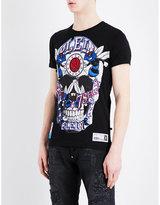Philipp Plein Embellished Basketball Cotton-jersey T-shirt