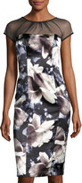 Maggy London Illusion-Yoke Floral-Print Dress, Black/Ivory