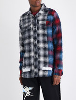 Off-White Distressed checked cotton-blend shirt