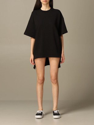 Paciotti 4Us Dress Maxi T-shirt Dress With Logo And Rear Fringes