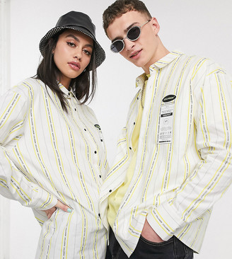 Collusion Unisex oversized stripe shirt