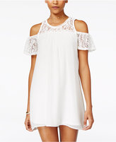 As U Wish Juniors' Cold-Shoulder Shift Dress