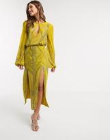 Asos Design DESIGN Eivissa blouson linear embellished midi dress