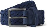 Anderson's - 3.5cm Navy Woven Suede Belt