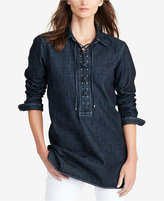 Lauren Ralph Lauren Lace-Up Denim Tunic