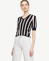 Ann Taylor Striped Extrafine Merino Wool Short Sleeve V-Neck Sweater