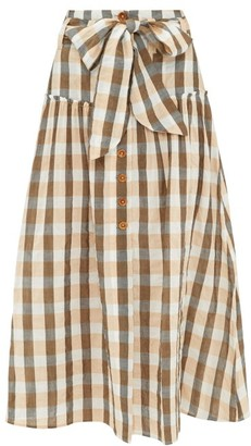 Belize - Vanessa Gingham Cotton-blend Midi Skirt - Womens - Orange Multi