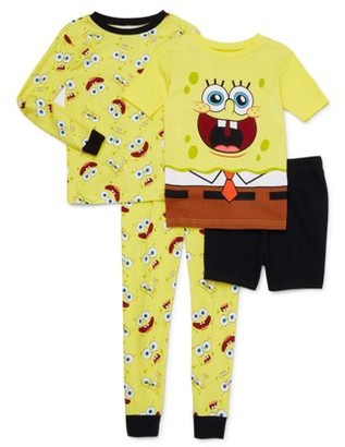 SpongeBob Squarepants Boys Exclusive 4-10 Cotton Tight Fit Pajamas, 4-Piece Set