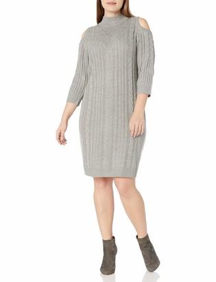Jessica Howard JessicaHoward Women's Plus Size Cold Shoulder Cable Knit Dress
