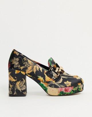 ASOS DESIGN Selina platform mid-heeled loafers in velvet jacquard