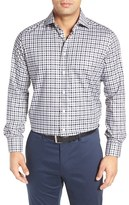 Luciano Barbera Men's Trim Fit Check Sport Shirt