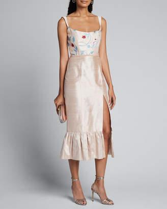 Markarian Floral Embroidered Silk Twill Ruffle Hem Dress w/ Front Slit
