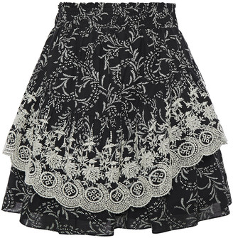 Joie Braylee Embroidered Cotton-blend Gauze Mini Skirt