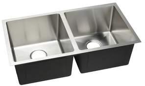 """evo Hahn 32"""" L x 18"""" W Double Basin Undermount Kitchen Sink Stainless Steel Hahn"""