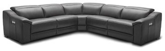 Orren Ellis Ozzy Symmetrical Motion Leather Reclining Sectional Upholstery: Dark Gray
