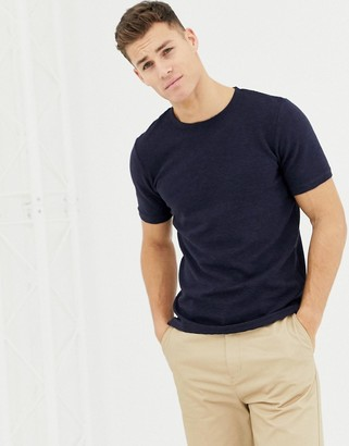 Selected relaxed fit longline t-shirt in navy