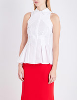 Antonio Berardi Peplum cotton-poplin blouse