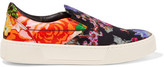 Balenciaga Floral-print Satin Slip-on Sneakers - Black