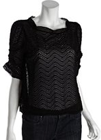 Joie black silk and lace woven 'Fanny B' blouse