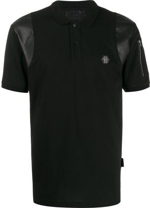 Philipp Plein Faux Leather Panel Polo Shirt