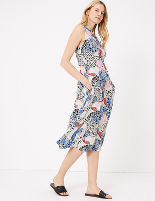 Marks and Spencer Paisley Open Back Midi Waisted Dress
